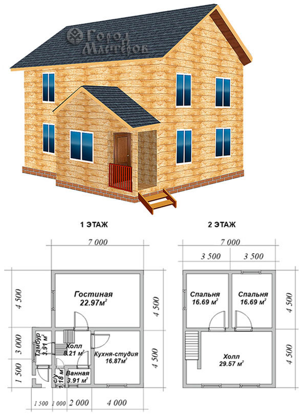 Дом 6х6 из бруса с мансардой 92